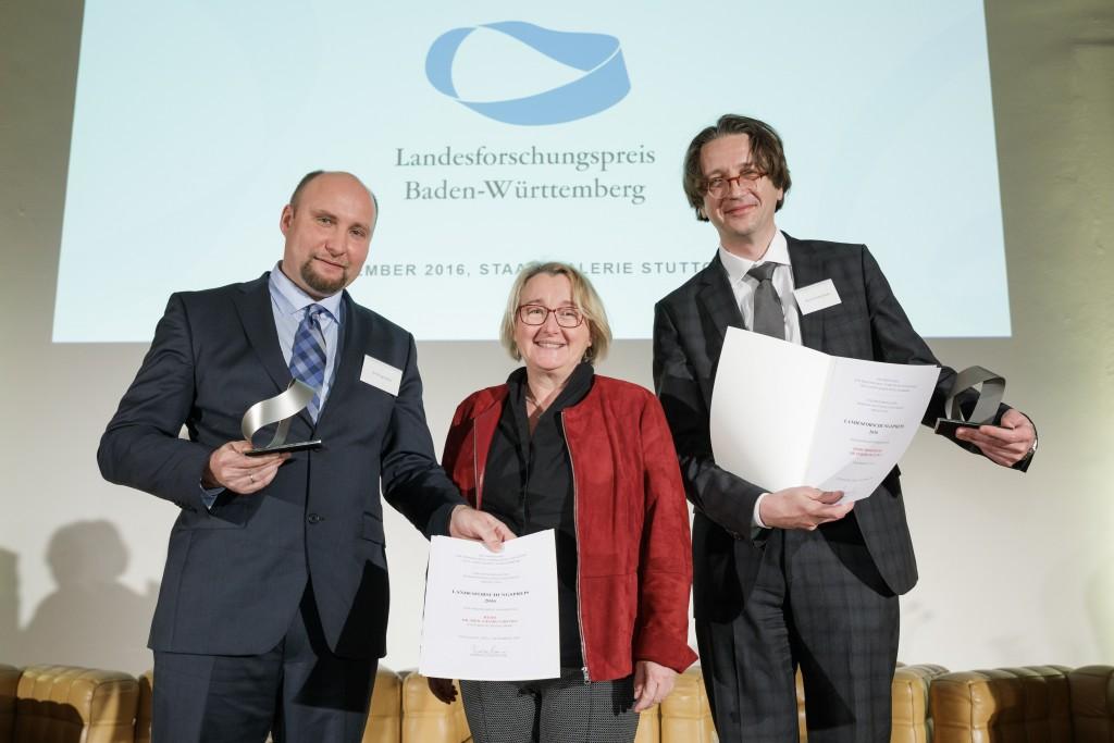 5.12.2016, Stuttgart: Verleihung des Landesforschungspreises und des Preises für mutige Wissenschaft durch Ministerin Theresia Bauer. (Foto: MWK BW/ Jan Potente)